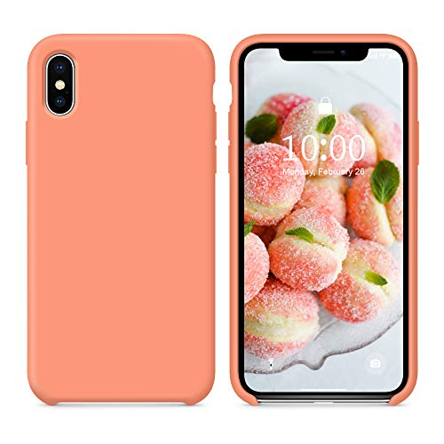 SURPHY Silicone Case for iPhone Xs Max, Soft Liquid Silicone Slim Rubber Shockproof Phone Case Cover with Soft Microfiber Lining for Apple iPhone Xs Max 6.5 2018 (Peach)