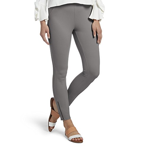 (HUE Women's Ankle Zip Simply Stretch Twill Skimmer Leggings, Filament, XL)