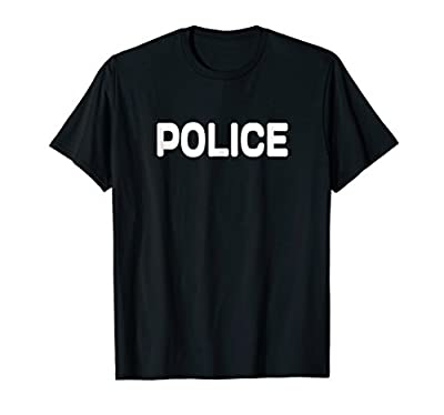 Police Cop Costume T Shirt Black POLICE SHIRT