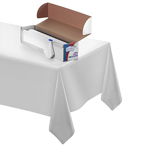 Heavy Duty Plastic Tablecloth Roll - Durable Plastic Table Cover Roll | Indoor/Outdoor | 52 Inch X 100 Feet | Water Resistant Tablecover | Disposable Table Cloth With Easy To Use Safe Cutter (White)