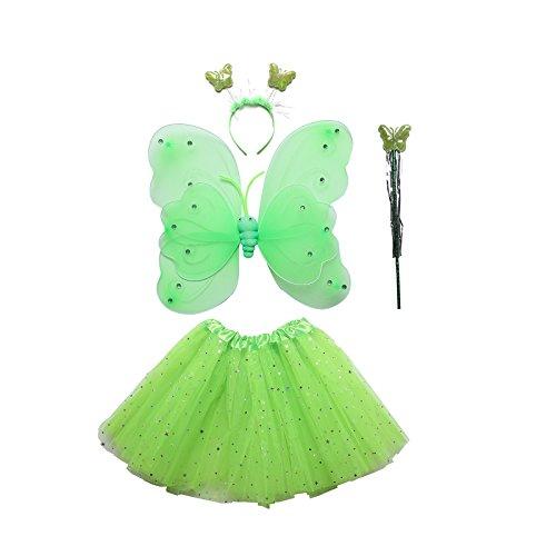 Dantiya 4pcs Kids Halloween Costume Props Butterfly Wing Wand Headband Tutu Skirt Set (Green, One Size) ()