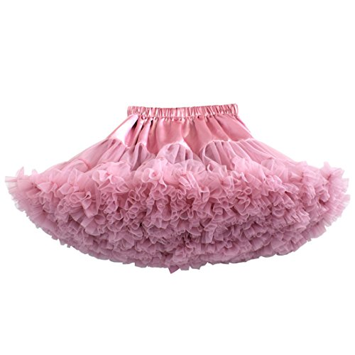 MizHome Girls Fluffy Tulle Pleated Tutu Skirt Princess Ballet Dance Dress Tiered Peach Pink S