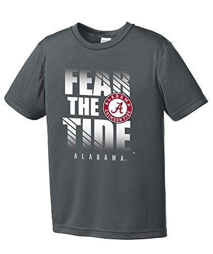 NCAA Alabama Crimson Tide Boys Fear Short Sleeve Polyester Competitor T-Shirt, Youth Large,IronGrey