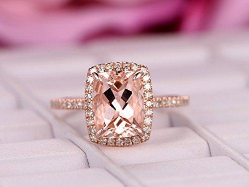 Cushion Morganite Engagement Ring Pave Diamond Wedding 14K Rose Gold (Pave Vs2 Ring)