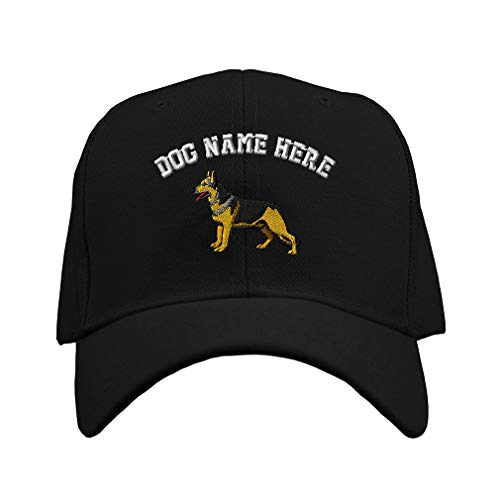 Custom Baseball Hat German Shepherd A Embroidery Dog Name Acrylic Structured Cap Hook & Loop - Black, Personalized Text Here