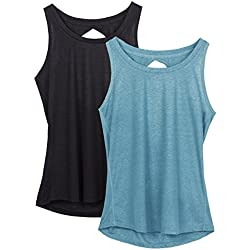 icyzone Yoga Tops Activewear Workout Clothes Open Back Fitness Racerback Tank Tops For Women (L, Black/Blue)