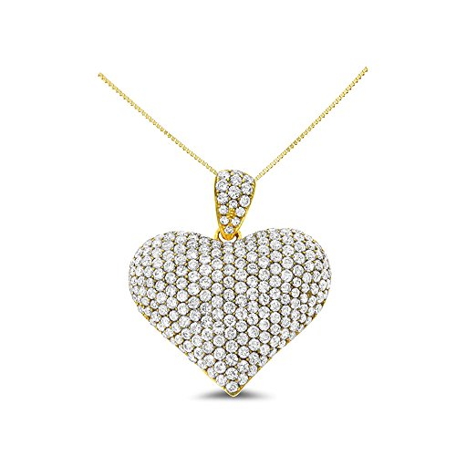 2.75CTW 18K Yellow Gold Genuine Natural Diamond Heart Shaped Pendant With Square Box Chain Necklace