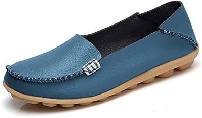 VenusCelia Women's Natural Comfort Walking Flat Loafer(7.5 M US,Blue)