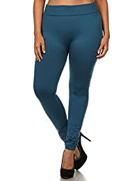 Womens Plus Size Seamless Solid Color Winter Fleece Leggings