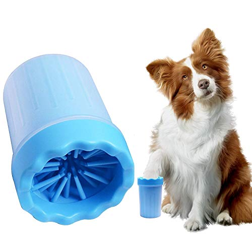 SemiPet Portable Muddy Dog Paw Cleaning Cup with Free Pet Grooming Bath Time Glove Towel - Paw Cleaning Glove