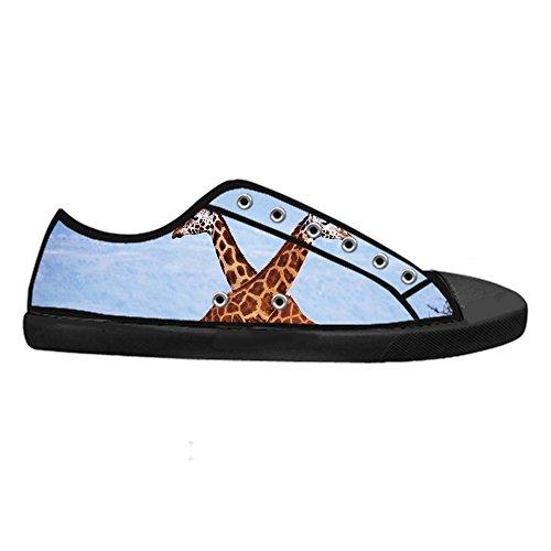 Personalizzato Traspirante Scarpe Canvas CHEESE Sneaker Giraffa con Animali Chiusura di Classico da Top Design Lacci Low Nero Flat Selvatici Donna 8OdqOw