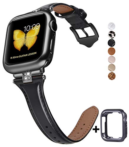 JSGJMY Slim Leather Bands Compatible with Apple Watch 38mm 40mm 42mm 44mm Women Top Grain Leather Strap with Diamond Rhinestone for iWatch Series 5/4/3/2/1 (Black/Black, 42mm/44mm)