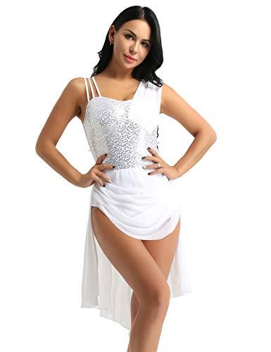 Alvivi Ladies Girls Lyrical Dance Costume Sweetheart Shiny Sequins Ballet Dance Dress Bodysuit White Type 2 Medium