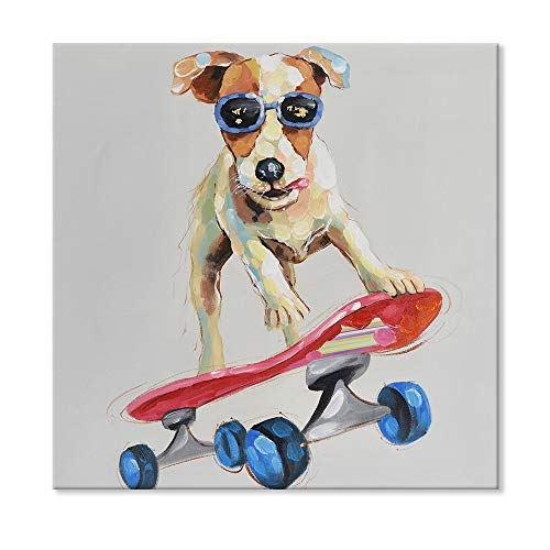 SEVEN WALL ARTS - Modern Hand Painted Canvas Art Animal Abstract Colorful Funny Dog Plays Skateboard Artwork Painting for Home Decoration 32 x 32 Inch