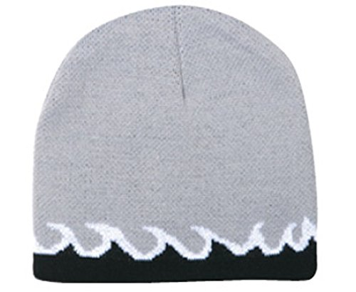 Flame Design Reversible Acrylic Knit Two Tone Color Beanies, 8