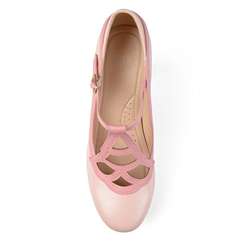 Journee Collection Womens Round Toe Vintage Comfort-Sole Two-Tone Lattice Mary Jane Pumps Pink tT52wPm7