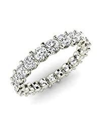 Silvestargemsjewellery 2.0Ct D/VVS1 Diamond Full Eternity Wedding Band Ring in 14k White Gold Over