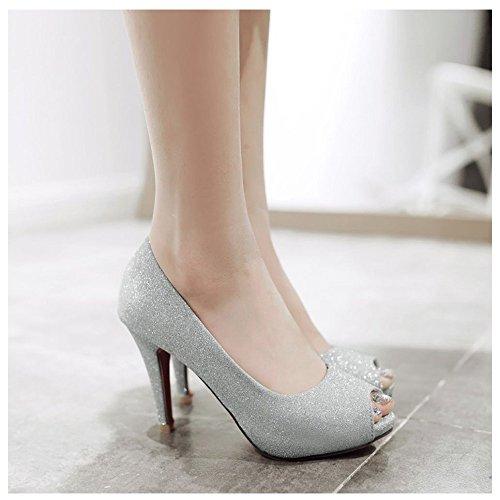Escarpins Toe silver Peep Femmes RAZAMAZA qAxz1BTTw