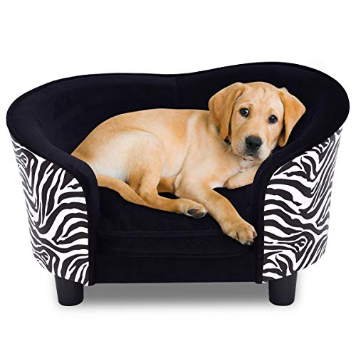 (Giantex Pet Sofa Soft Warm Pet Dog Lounge Sofa Puppy Cat Sleeping Snuggle Couch Bed Home Comfortable Pet Bed with Removable Cushion, Zebra-Stripe)