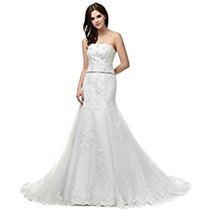 cb2f79c5132e Vantexi Women's Strapless Lace Mermaid Wedding Dress Bridal Gown Ivory 24