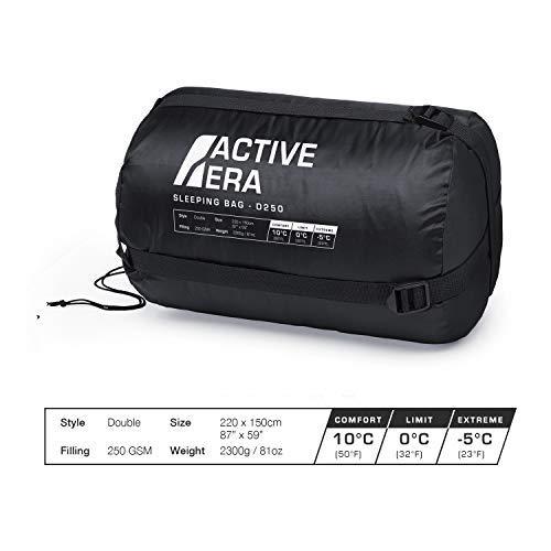 para Camping Excursiones y Actividades al Aire Libre Active Era Saco de Dormir Doble Para Todas las Estaciones Extragrande 220 x 150 cm Se Convierte en 2 Sacos Individuales