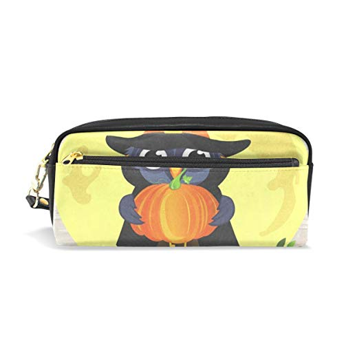 (Pencil Case/Makeup Bags Halloween Owl in Witch Costume with Pumpkin Big Capacity Portable Pencil Bag for College)