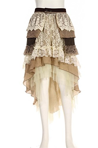 multistrato Long Steampunk beige Tiered Abito DEVIL Donna SHACKLES Lace Skirt gotico lungo n7xPF6q