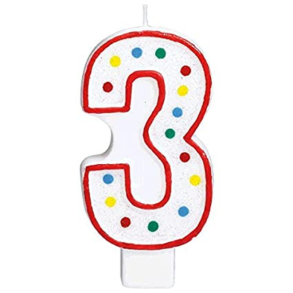 Amscan Party Perfect Flat Molded Multicolored Polka Dot Number 3 Celebration Candle White 5quot