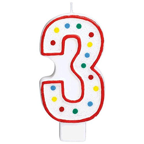 #3  Polka Dots Birthday Candle | Multicolor |Party Supply