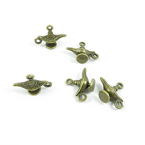 60 PCS Jewelry Making Charms Findings Supply Supplies Crafting Lots Bulk Wholesale Antique Bronze Tone Plated S4GL8 Aladdin Genie Magic Lamp (Magic Lamp Charm)