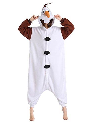 NEWCOSPLAY Unisex Adult Onesie Olaf Pajamas Plush Costume Cosplay (L fit 170cm-178 cm (5'7