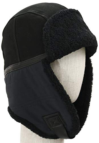 (UGG Men's Mixed Media Water Resistant Sheepskin & Fabric Trapper Black SM/MD)