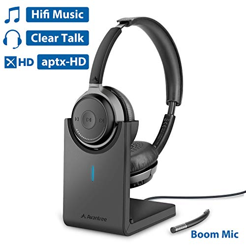 Avantree Bluetooth 5.0 Headset for Computer PC, aptX HD Superior Music Sound, Low Latency Wireless On Ear Headphones with Boom Mic, Charging Stand for Home Office, Skype, Calls, TV - Alto Clair