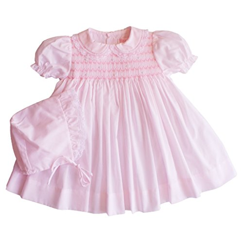 Petit Ami Dress with Bloomers and Hat with Smocking and Lace in Pink (Pink Heirloom Dress)