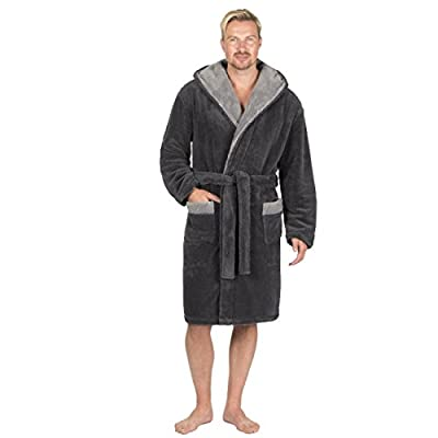 2766849025 Pierre Roche Mens Snuggle Fleece Hooded Lounge Dressing Robe with Pockets