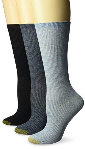 Gold Toe Women's Non-Binding Ribbed Crew Socks, 3 Pairs, Chambray/Navy Marl/Navy, Shoe Size: 8-13