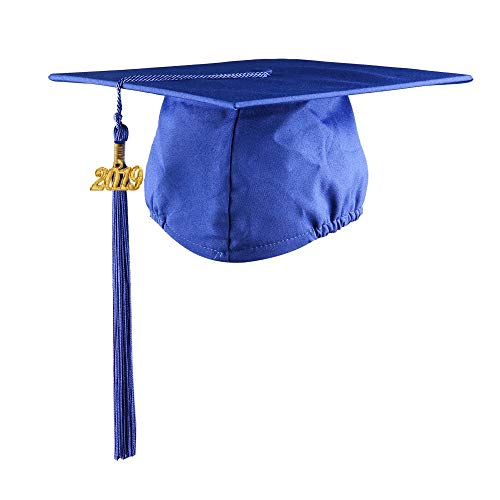 - YesGraduation Unisex Adult's Matte Graduation Cap With Tassel 2019 for High School and College (Royal, 2019 Matte)
