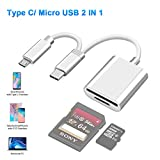 USB C to SD/MicroSD Card Reader Type C/Micro USB OTG Adapter Aluminum TF Card Memory Card Reader Camera reader Drive Recorder Video Reader Trail Cam Viewer for Android Tablets/PC/Laptop/phones/samsung