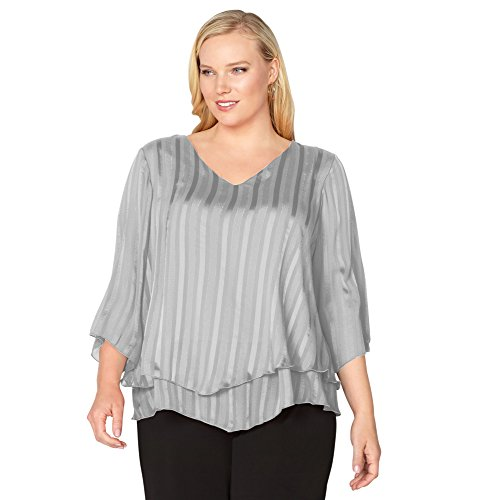 -AVENUE Women's Layered Shadow Stripe Top, 22/24 Silver