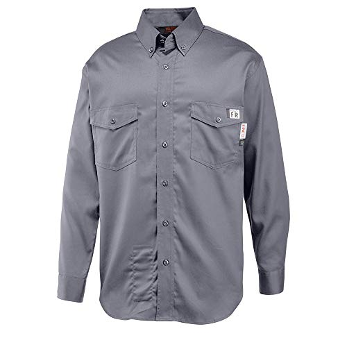 Shirt Twill Flame Resistant - Wolverine Men's Flame Resistant Twill Shirt, Lead, XX-Large
