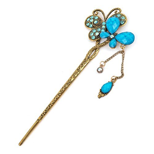 FOREVER YUNG Rhinestone Butteryfly Decor Vintage Style Bronze Tone Blue Hair Stick