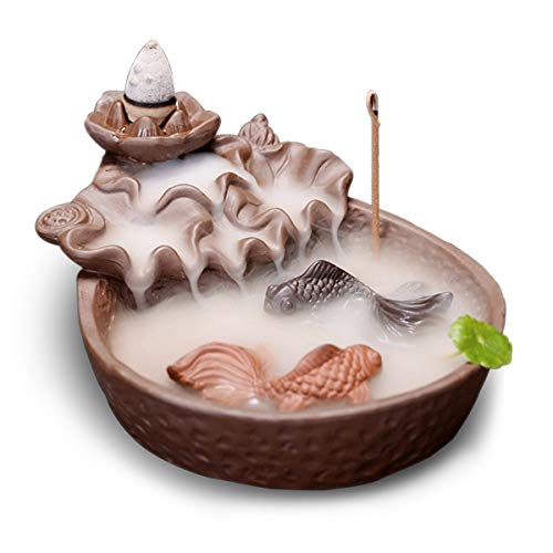 Fish Pond Backflow Incense Burner, Handmade Ceramic Backflow Incense Cone Sticks Holder Home Decor Porcelain with Two Fish and 10 pcs Incense Cones