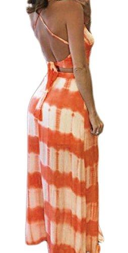Coolred-femmes Deux Pièces Sexy Bretelles Croix Rayé Dos Nu Confortable Orange1 Robe De Plage