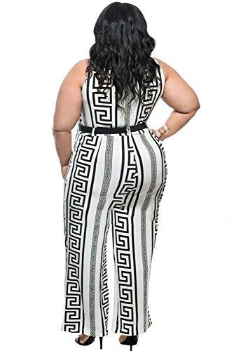 Neuf femmes Taille plus Blanc et Noir avec ceinture Combinaison body Club Wear Vêtements Taille XXXL UK 16–18EU 44–46