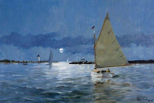 Ray Ellis Harbor - Edgartown Harbor - Full Moon Art Print by Ray Ellis