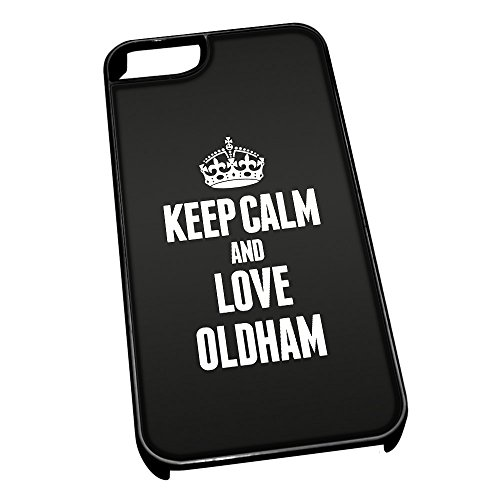 Nero Cover per iPhone 5/5S 0470 Nero Keep Calm And Love Oldham