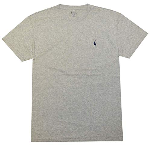Polo Ralph Lauren Men Classic Fit Crew Neck Pony Logo T-Shirt (Small, New Grey -
