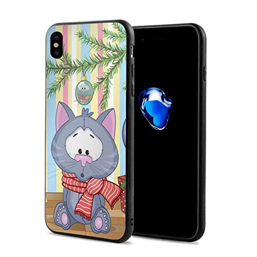 Compatible with iPhone X Case,Kitten with Scarf Under The Tree with Ball Celebration and Gift Box Cat Themed,Soft Rubber Phone Case Cover