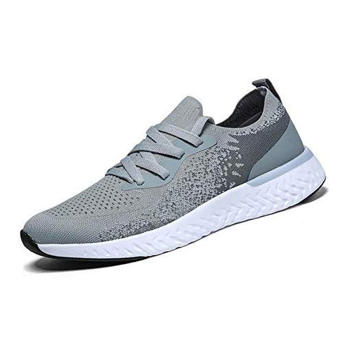 QZX Men's Slip on Shoes Black White Grey Non Slip Outdoor Sneakers Walking Athletic Workout Shoes Casual Fashion Lightweight Shoes for Men (Grey US12)
