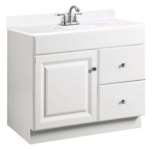 (Design House 531954 Wyndham Ready-To-Assemble 1 Door/2 Drawer Vanity, White, 36